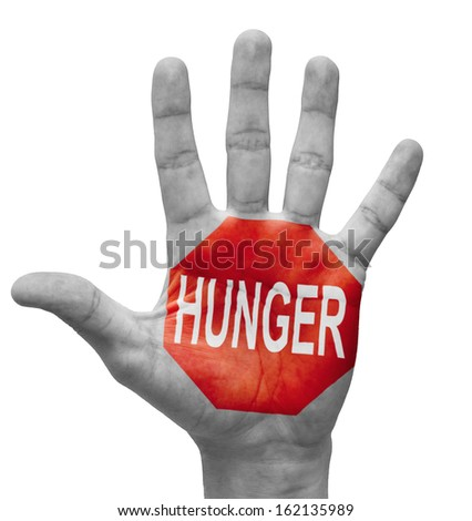 Hunger - Raised Hand with Stop Sign on the Painted Palm - Isolated on White Background. - stock photo