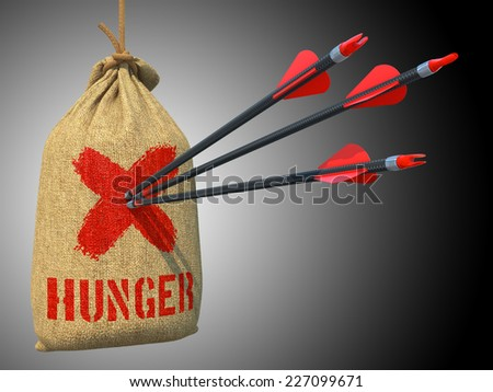 Hunger - Three Arrows Hit in Red Target on a Hanging Sack on Green Bokeh Background. - stock photo
