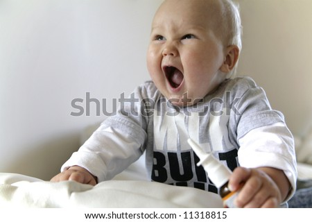 hungry boy calls a mother loudly - stock photo