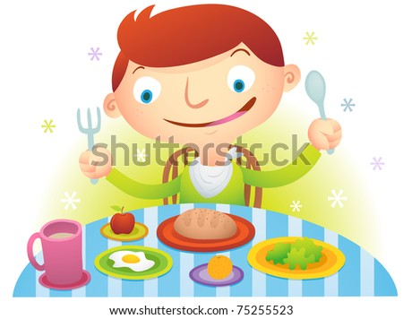 Hungry boy ready to eat - stock photo