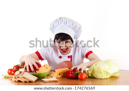 hungry chef rushes on food