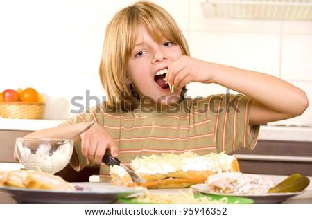 hungry child - stock photo