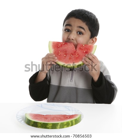 Hungry Child Eating a Watermelon Slice, Isolated, White - stock photo