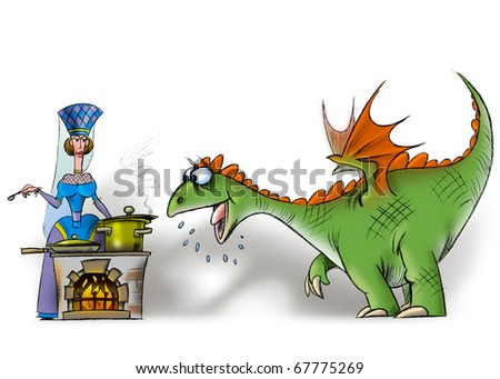 hungry dragon oh the kitchen - stock photo