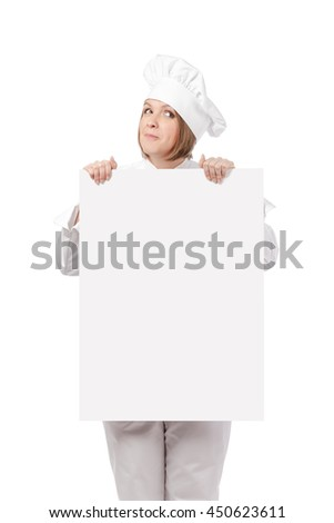hungry female chef, cook or baker holding blank board with empty copy space for you text isolated on white background. advertisement banner. your text here - stock photo