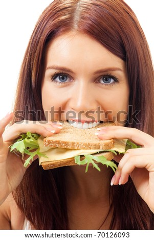 Hungry gluttonous woman eating sandwich with cheese, isolated on white background