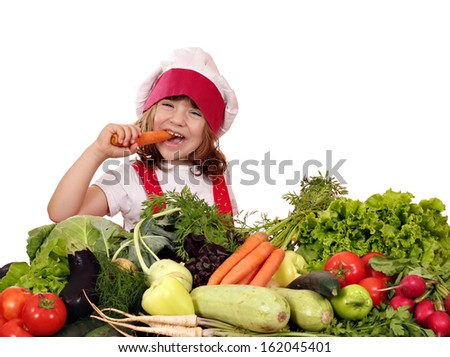 hungry little girl cook eat carrot