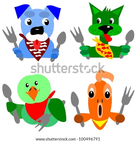 Hungry pets.  Cartoon illustration of a pet dog, a green cat, a parrot and a gold fish that are ready for their dinner. - stock photo