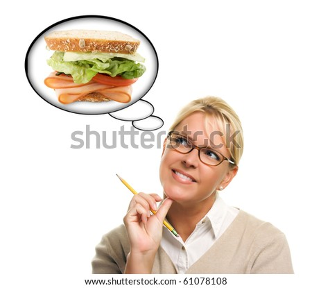 Hungry Woman with Thought Bubbles of Big, Fresh Sandwich Isolated on a White Background. - stock photo