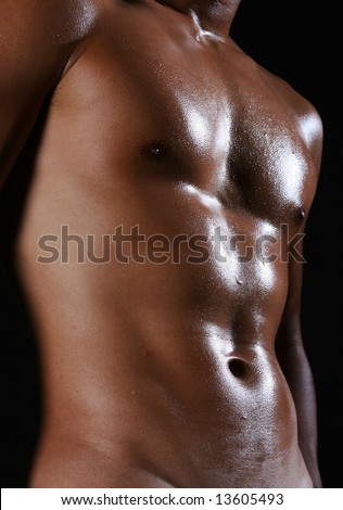 hunky male asian in the nude - stock photo
