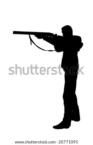 Hunter aiming a rifle on white - stock photo