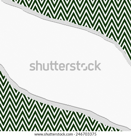 Hunter Green and White Chevron Zigzag Frame with Torn Background with center for copy-space, Classic Torn Zigzag Chevron Frame - stock photo