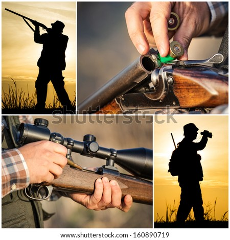 Hunter hunting collage  - stock photo