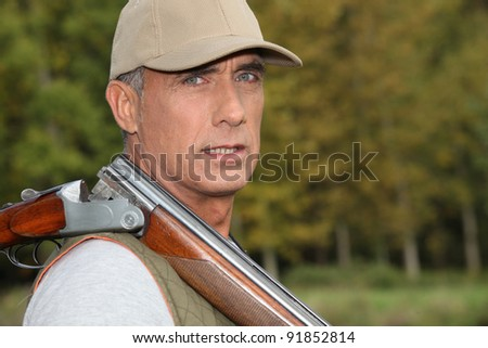 hunter in the country - stock photo