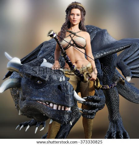 Hunter queen and her dragon. Beautiful warrior female posing with her mystic dragon and bow on a blurred background. Photo realistic 3d model scene.   - stock photo