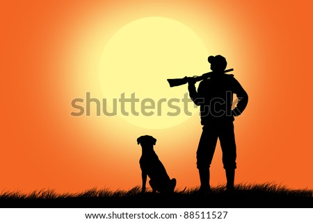 hunter with a dog - stock photo