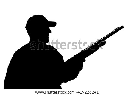 hunter with gun silhouette isolated over white with clipping path - stock photo