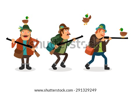 Hunter with gun. Weapon and shotgun, hunting sport, duck and shooter - stock photo