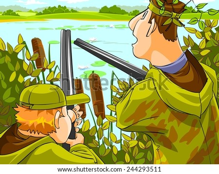 Hunters aiming the hunt during the hunting season.  - stock photo