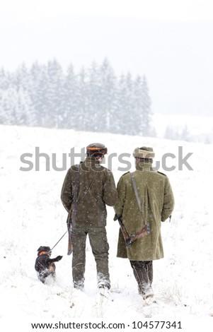 hunters at hunt - stock photo
