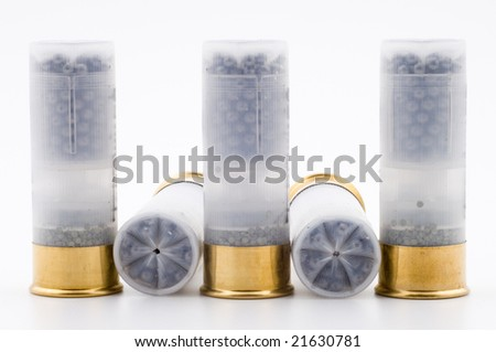 Hunting ammunition isolated on white background - stock photo