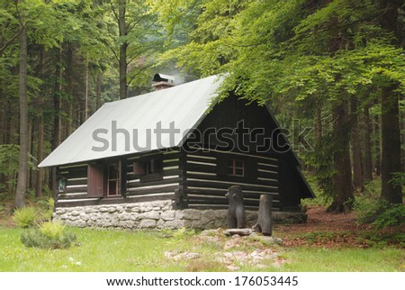 Hunting cabin in the woods - stock photo