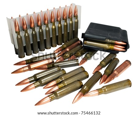 Hunting cartridges of caliber .308 Win - stock photo