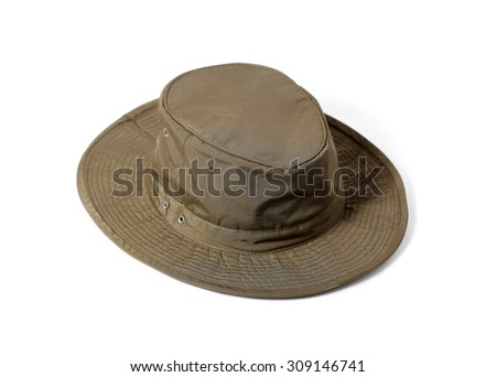 Hunting hat isolated on white - stock photo