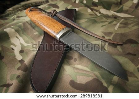 hunting knife - stock photo