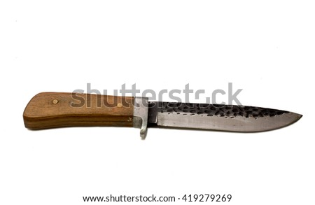 Hunting knife with wooden handle. Blade made of hardened steel with black engraved top