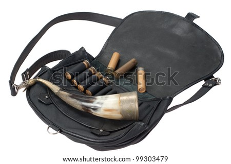 hunting leather bag with ammo and drinking horn isolated on white background - stock photo