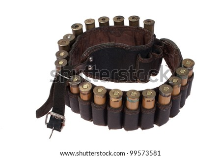 hunting leather bandoleer with ammo isolated on white background - stock photo