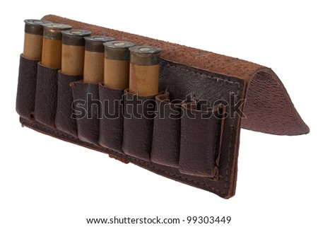 hunting leather bandolier with ammo isolated on white background - stock photo
