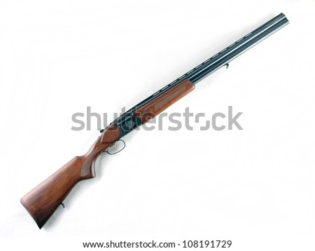 Hunting rifle - modern shotgun isolated on white background - stock photo