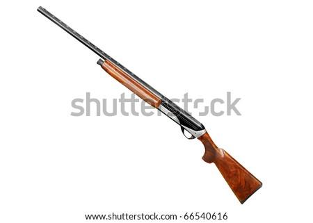 hunting shotgun isolated on white - stock photo