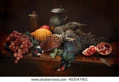 Hunting still life in dutch style - stock photo