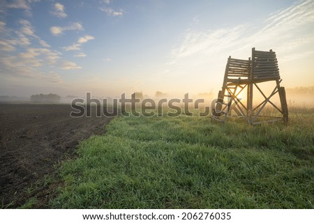Hunting tower in the light of a misty morning - stock photo