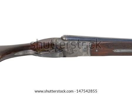 Hunting vintage rifle isolated on white background
