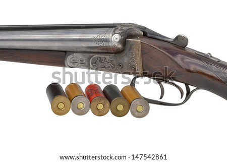 Hunting vintage rifle isolated on white background - stock photo