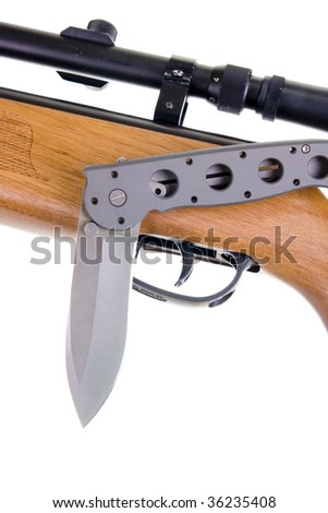 Hunting weapon and knife  isolated on white