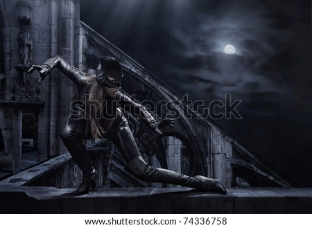 Hunting woman - stock photo