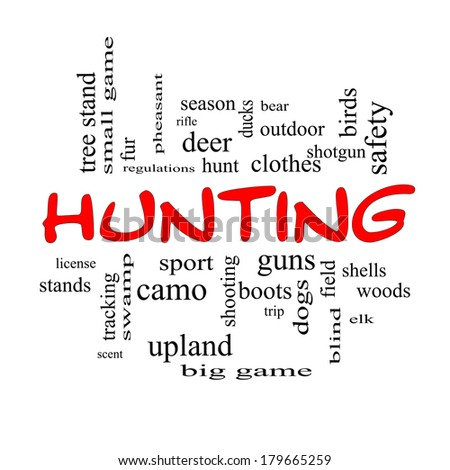 Hunting Word Cloud Concept in red caps with great terms such as shotgun, game, deer and more.