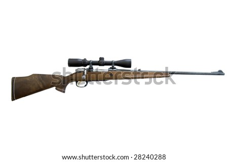 huntingrifle cal. 6,5. isolated on white - stock photo