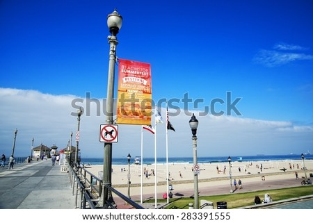 HUNTINGTON BEACH, CALIFORNIA - JUNE 1, 2015: The Beachside Summerfest is a music festival on the waterfront with a variety of musicians, demonstrations by skate professionals and free activities. - stock photo