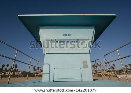 huntington beach lifeguard tower - stock photo