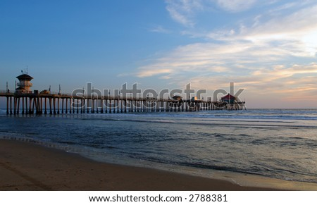 Huntington Beach Pier At Dusk - stock photo