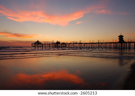 Huntington Beach Pier at Sunset - stock photo