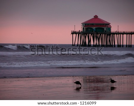 Huntington Beach Pier at Sunset. Orange County, California. - stock photo