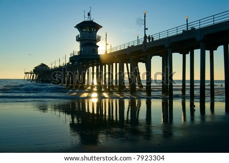 Huntington Beach Pier late in the afternoon - stock photo