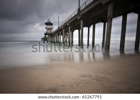 Huntington Beach Pier Long Exposure - stock photo